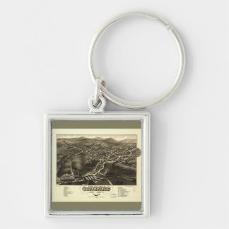 Whitefield, Coos County, New Hampshire (1883) Silver-Colored Square Key Ring
