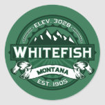 Whitefish Logo Forest Round Stickers
