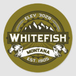 Whitefish Logo Olive Classic Round Sticker