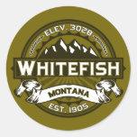 Whitefish Logo Olive Round Sticker