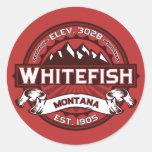 Whitefish Logo Red Classic Round Sticker