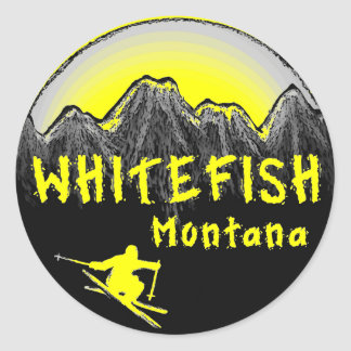 Whitefish Montana artistic skier Classic Round Sticker