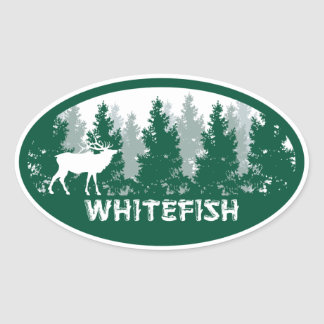 Whitefish Montana Oval Oval Sticker