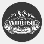 Whitefish Mountain Emblem Round Stickers