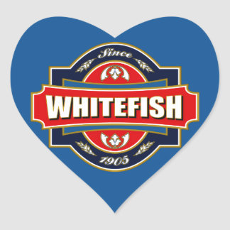 Whitefish Old Label Heart Sticker