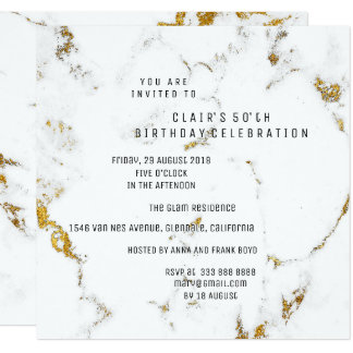WhiteGold Carrara Marble Geometric Square Party Card