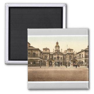 Whitehall, horse guards, London, England rare Phot Square Magnet