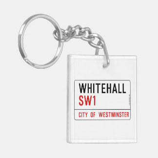 Whitehall London Street Sign Double-Sided Square Acrylic Key Ring