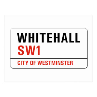Whitehall, London Street Sign Postcard