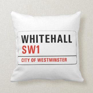 Whitehall, London Street Sign Throw Pillow