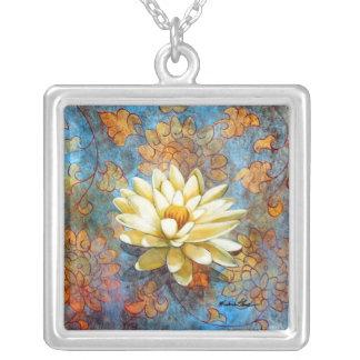 Whitel Lotus on Blue Square Pendant Necklace