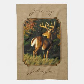 Whitetail Buck Deer Hunting Tan Tea Towels