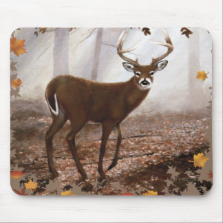 WhiteTail Buck Fall Leaves Mousepads
