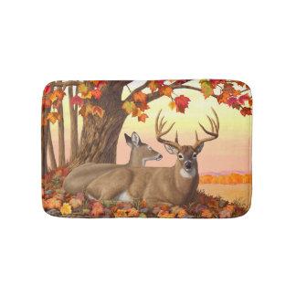 Whitetail Deer Autumn Maple Tree Bath Mats