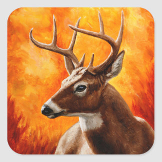 Whitetail Deer Buck Hunting Square Sticker