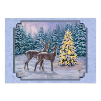 Whitetail Deer & Christmas Tree 13 Cm X 18 Cm Invitation Card