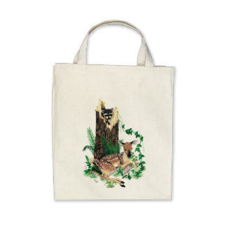 Whitetail Deer Fawn and Raccoon Tote Bag