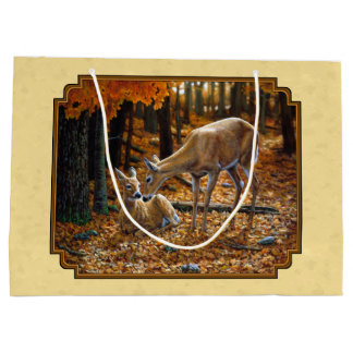 Whitetail Deer Fawn & Doe Yellow Large Gift Bag