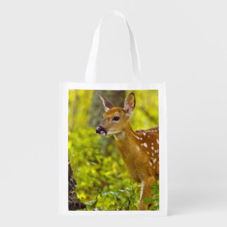 Whitetail deer fawn in Whitefish, Montana, USA Reusable Grocery Bag