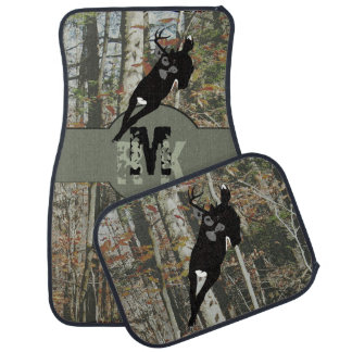 Whitetail Deer Hunters Woodland Camo with Monogram Car Mat