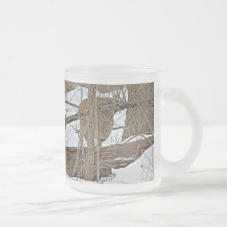 Whitetail Deer In Snow Frosted Glass Mug