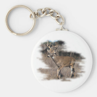 Whitetail deer in the field basic round button key ring