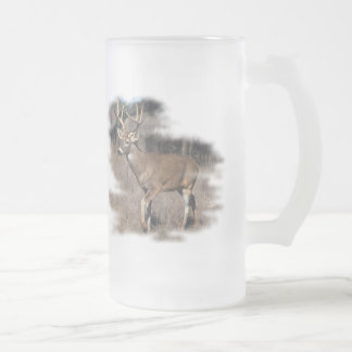 Whitetail deer in the field frosted glass mug