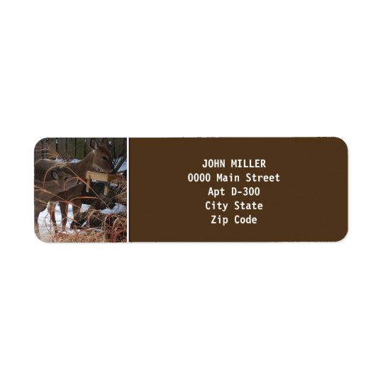 Whitetail Deer in Winter Return Address Label