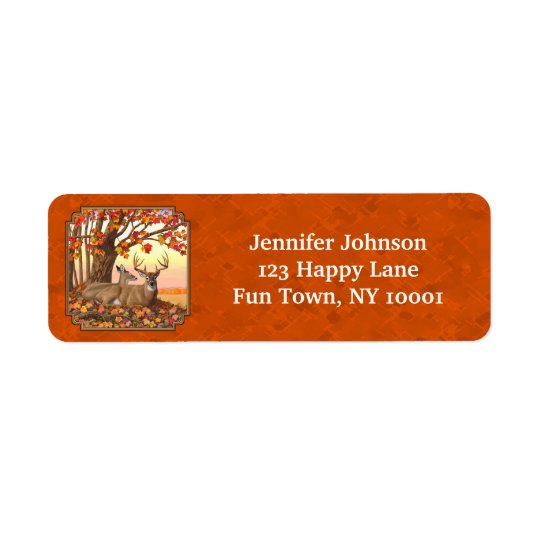 Whitetail Deer Maple Tree Autumn Orange Return Address Label