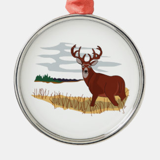 Whitetail Deer Scene Silver-Colored Round Decoration