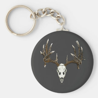 Whitetail deer skull 1 basic round button key ring