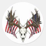 Whitetail deer skull 1 classic round sticker