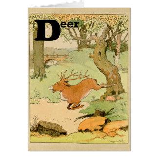 Whitetail Deer Stag Running Alphabet Greeting Card