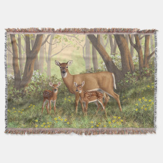 Whitetail Doe and Cute Twin Fawns Throw Blanket