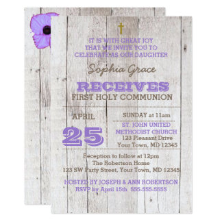 Whitewash Lilac Rustic First Holy Communion Card