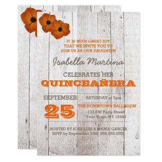 Whitewash Orange Quinceañera Invitation