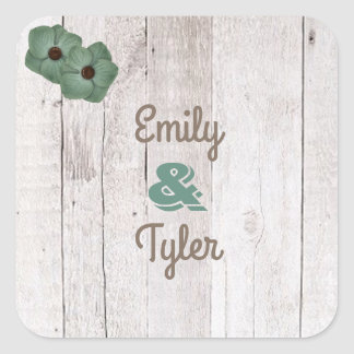 Whitewash Teal Rustic Personalized Square Sticker