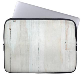 Whitewashed Barn Wood White Woodgrain Laptop Sleeve