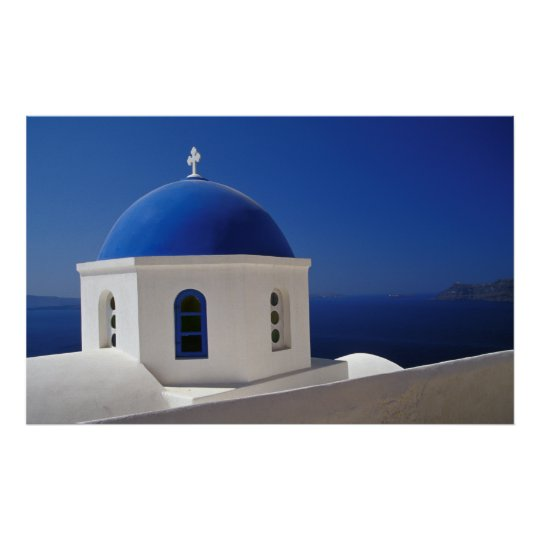 Whitewashed Church with Blue Dome, Santorini Poster