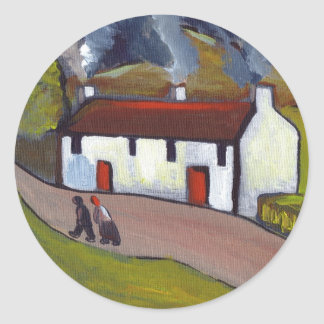 WHITEWASHED COTTAGES CLASSIC ROUND STICKER