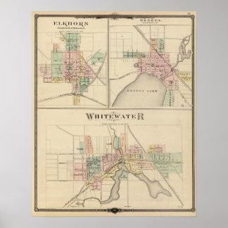 Whitewater, Elkhorn and Geneva Poster