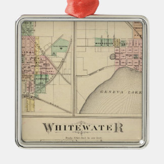 Whitewater, Elkhorn and Geneva Silver-Colored Square Decoration