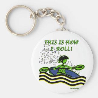 Whitewater Kayak Roll Basic Round Button Key Ring
