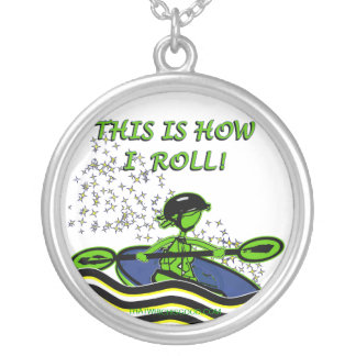 Whitewater Kayak Roll Round Pendant Necklace