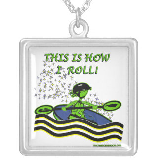Whitewater Kayak Roll Square Pendant Necklace