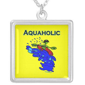 Whitewater Kayaker Aquaholic Blue Green Square Pendant Necklace