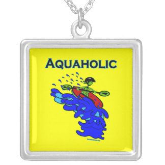 Whitewater Kayaker Aquaholic Blue Green Silver Plated Necklace