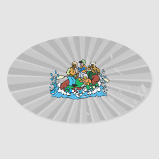 whitewater rafting trip graphic oval sticker
