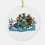 whitewater rafting trip graphic round ceramic decoration