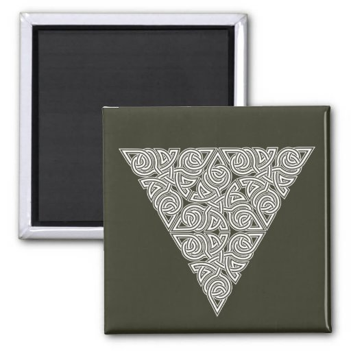 Whitework Triangle Knot Square Magnet